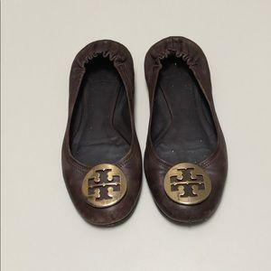 "Tory Burch | ""Reva"" Brown Gold Emblem Flats | 8.5"